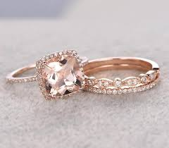 engagement rings sale sale 2 carat morganite and diamond trio wedding bridal ring set in