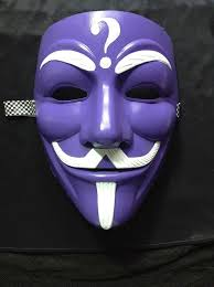 purple mask anonymous riddler white on purple custom mask painted
