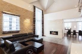 Modern Living Room With Fireplace Images Grand Design Modern Living Room With A Fireplace Stock Photo