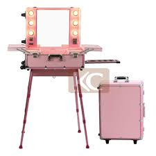 rolling makeup case with lighted mirror professional rolling travel trolley train 6 lights aluminum cosmetic