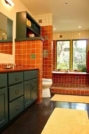 southwestern bathroom with green bathroom cabinets southwestern