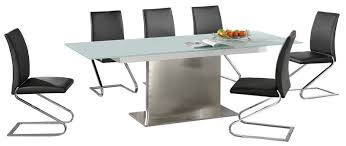 Frosted Glass Dining Table And Chairs Large Extending Frosted Glass Dining Table 6 Chairs Homegenies