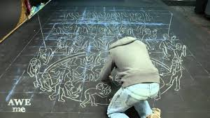 3d kong chalk drawing based on m c escher s ascending