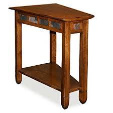 rustic wedge end table amazon com leick 10056 rustic oak slate tile recliner wedge end