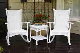 double white rattan rocking chairs with back and double arms