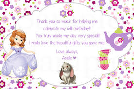 printable thank you cards princess sofia the first princess birthday tea party theme thank you cards