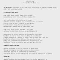 Dance Instructor Resume Sample by High Dance Teacher Resume Sample Featuring Awesome Job