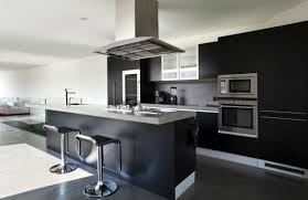 kitchen room silver chandelier lamps black wooden kitchen island