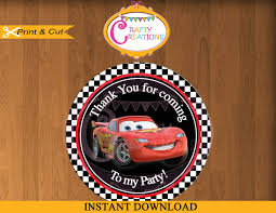 cars movie disney car tag favor tags cars movie sticker party tags thank