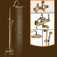 Brass Shower Faucets Antique Brass Bronze Finish Rain Shower Set Shower Faucet