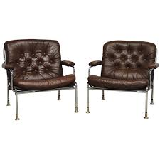 Leather Club Chairs For Sale Swedish Chrome And Leather Armchair Attributed To Bruno Mathsson
