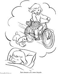 printable christmas coloring dreaming bike