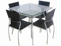 Glass Top Square Dining Table Glass Top Metal Legs Modern Square Dining Table W Shelf