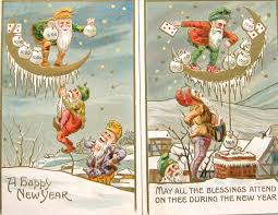 new year post card postcardiva postcard new year elves gnomes on antique