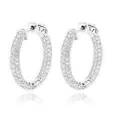 small diamond hoop earrings gold small inside out diamond hoop earrings 2 9ct