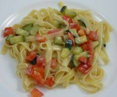 carbohydrates fettuccine with bell peppers and zucchinis in
