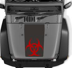 blackout jeep wrangler product jeep wrangler blackouot biohazard vinyl hood two colors