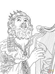 king david playing the harp coloring page free printable