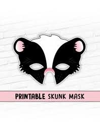 skunk mask animal masks printable party mask halloween