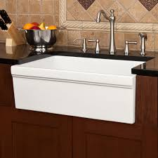 kitchen striking porcelain apron front sink with kitchen faucets