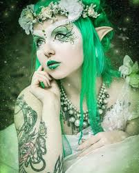 beautiful tattooed fairy elf cosplay makeup the eye esign is just