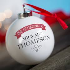 personalised bauble our first christmas as mr u0026 mrs
