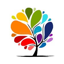 abstract rainbow tree for your design royalty free stock photo