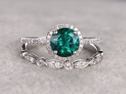 vintage flower rings images 1 2 carat round emerald engagement ring set diamond matching band jpg