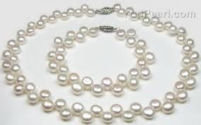 pearl bracelet set images 7 5 8 5mm white button top drilled pearl necklace bracelet set jpg