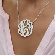 monogram necklace pendant large monogram necklace in silver bestmonogramnecklace