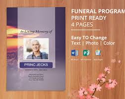 Funeral Program Printing Printable Funeral Program Template Memorial Obituary