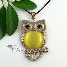 cat eye pendant necklace images Round owl rose quartz jade semi precious stone cat 39 s eye tiger 39 s jpg