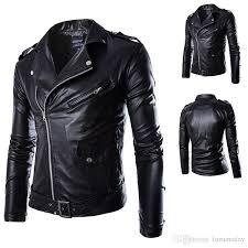 buy biker jacket new fashion men black pu zipper suede faux leather coat punk long