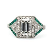 deco engagement ring vintage deco diamond and emerald engagement ring skyline