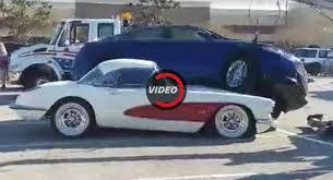 corvette car crash cover your ford fusion crashes onto 1959 corvette
