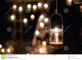 Hanging Tree Lights by Lamp With Candle Is Hanging On A Tree At Night Wedding Nigh Stock