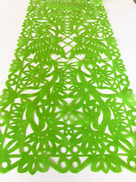 lime green table runner mexican fabric table runner papel picado design lime green mesachic