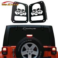 jeep wrangler brake light cover decorative 2x metal rubicon sahara skull taillight real light cover