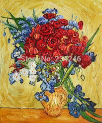 poppies and iris collage by vincent van gogh flower oil painting