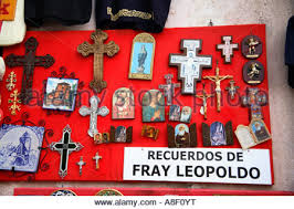crucifixes for sale religious icons on a souvenir stall st petersburg russia stock