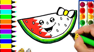 watermelon coloring page learn fruit colors for girls and kids