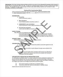 contract for construction work template work contract templates