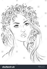 sketch beautiful wreath her hair stock vector 736193029