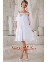 white empire off the shoulder knee length chiffon beading prom