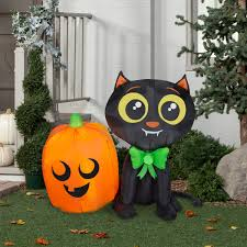 halloween airblown inflatable 3 5 ft cat and pumpkin by gemmy