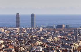 barcelona city view barcelona city view spain stock image image of towers park