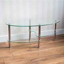 Cara Coffee Table Home Discount Cara Glass Coffee Table Clear Oval Stainless Steel