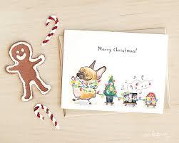 christmas train french bulldog christmas cards funny