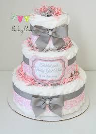 baby damask pink u0026 gray diaper cake baby shower