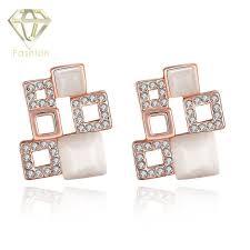 modern gold stud earrings trendy geometric design multi squares stud earrings with modern